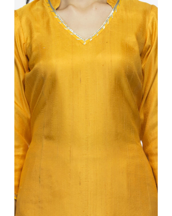 Orange yellow kurta set with dupatta 2