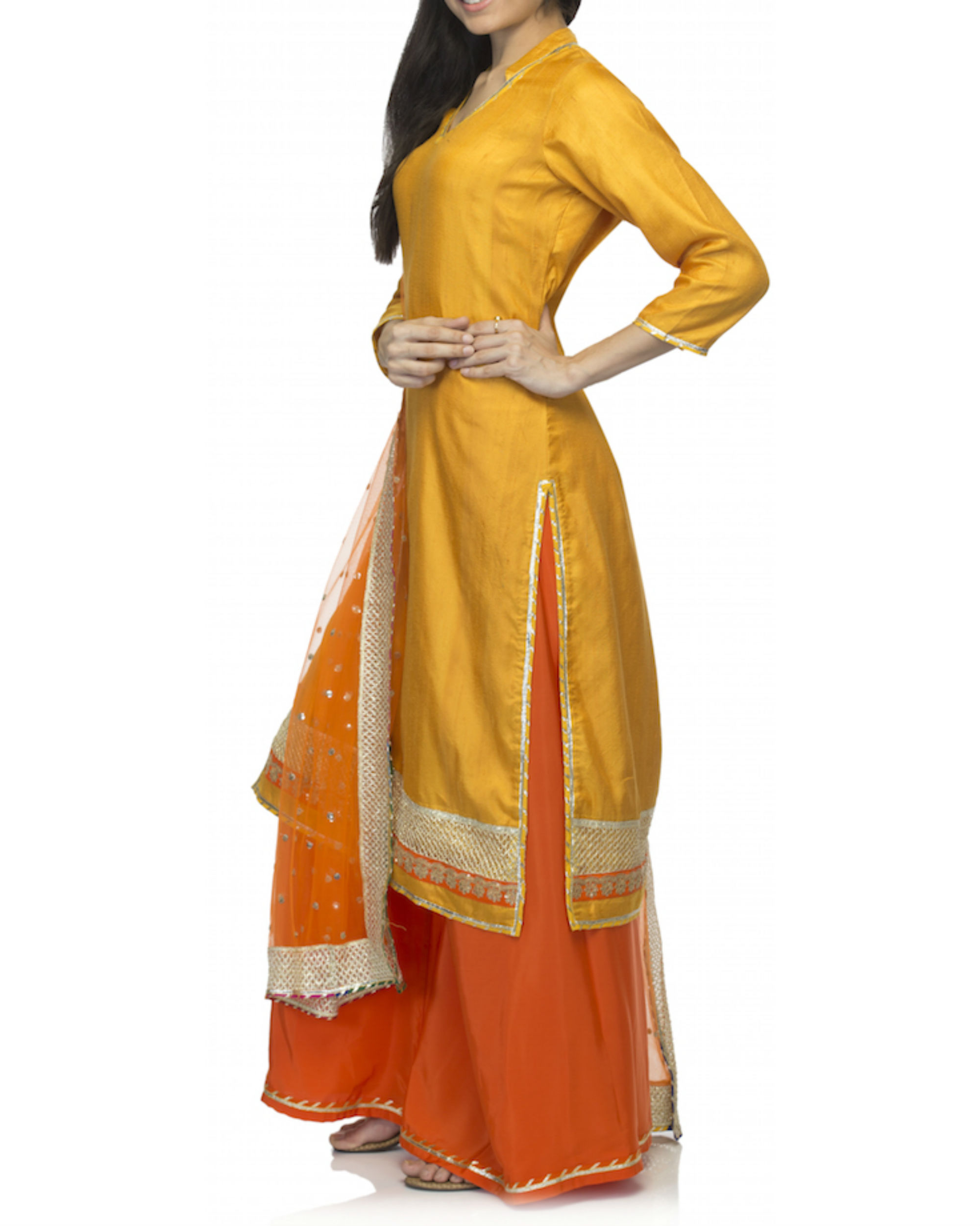 Ihram Kids For Sale Dubai: Orange Yellow Kurta Set With Dupatta By Rang By Manjula