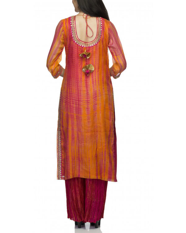 Orange angrakha set with dupatta 1