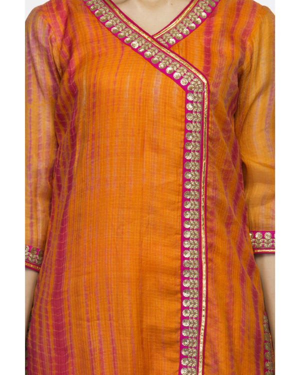 Orange angrakha set with dupatta 2