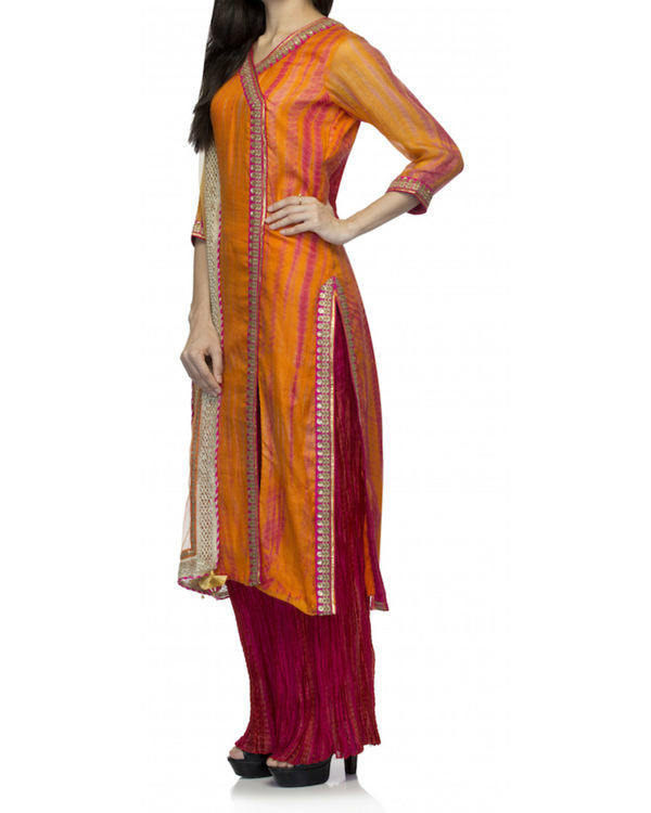 Orange angrakha set with dupatta 3
