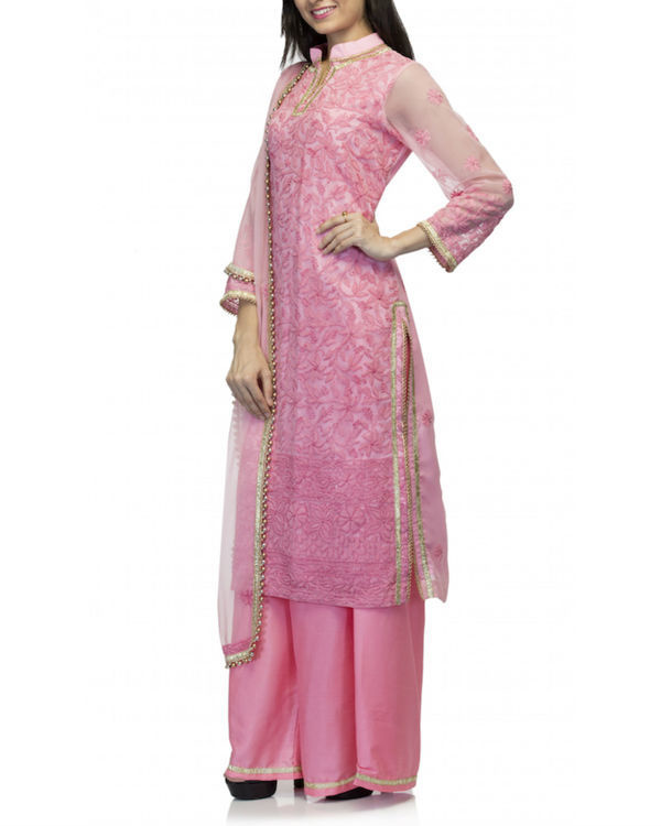 Pink kurta set with dupatta 3