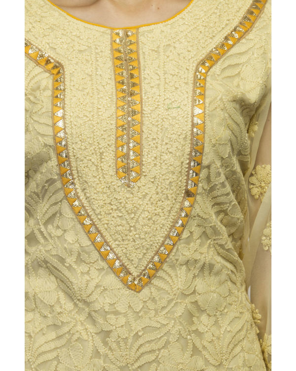 Yellow kurta set with dupatta 1
