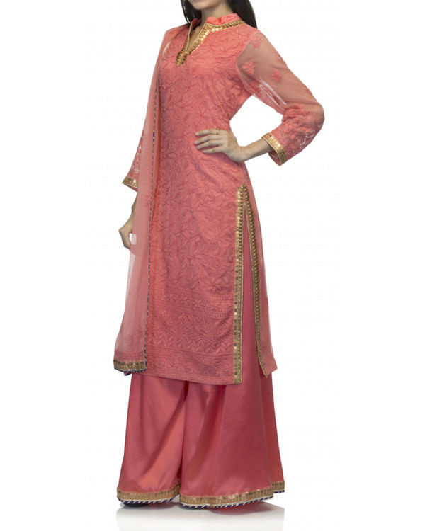 Coral kurta set with dupatta 1