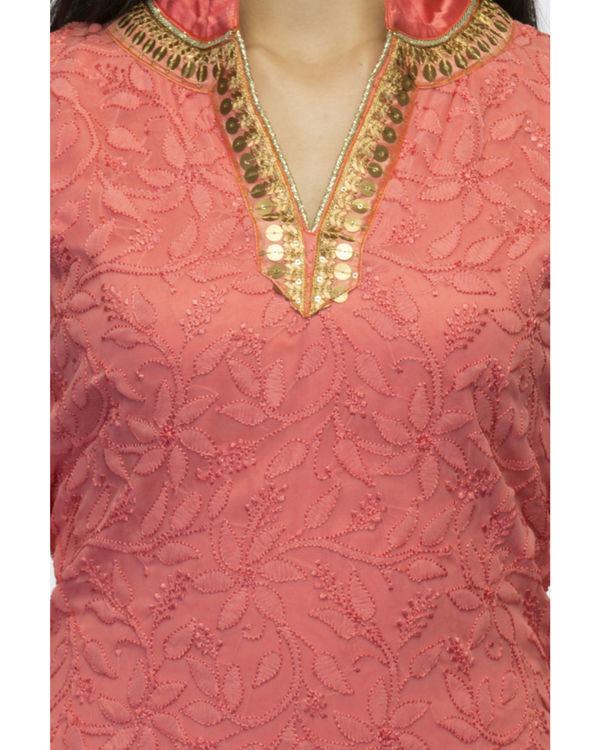 Coral kurta set with dupatta 3