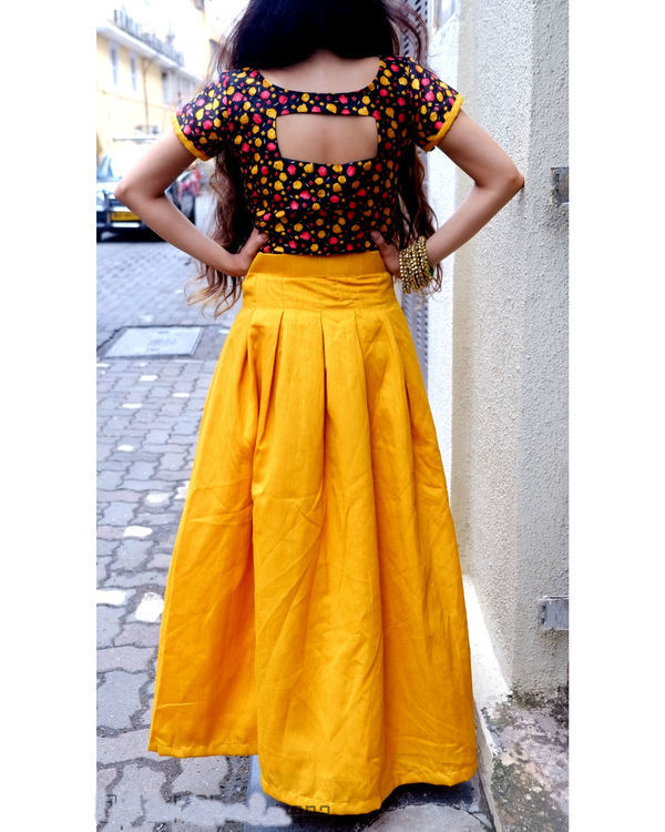 Mustard crop top and skirt set 1