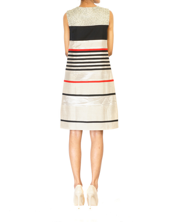 Multistripe cut & sew embroidered dress 1