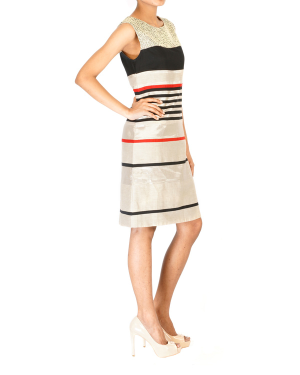 Multistripe cut & sew embroidered dress 2