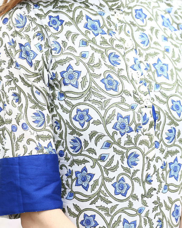 Blue Floral Double Layered Tunic 2