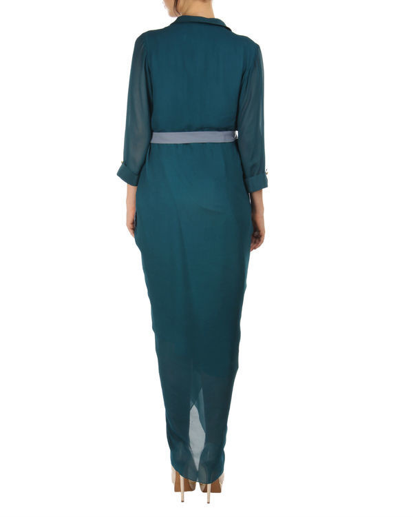 Teal dhoti wrap dress 1