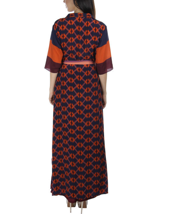 Navy orange long dress 1