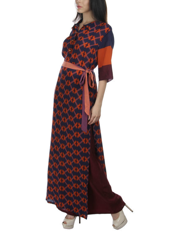Navy orange long dress 2