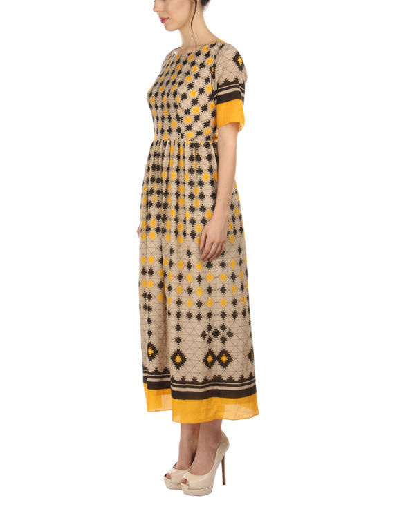 Yellow ankle length dress 3