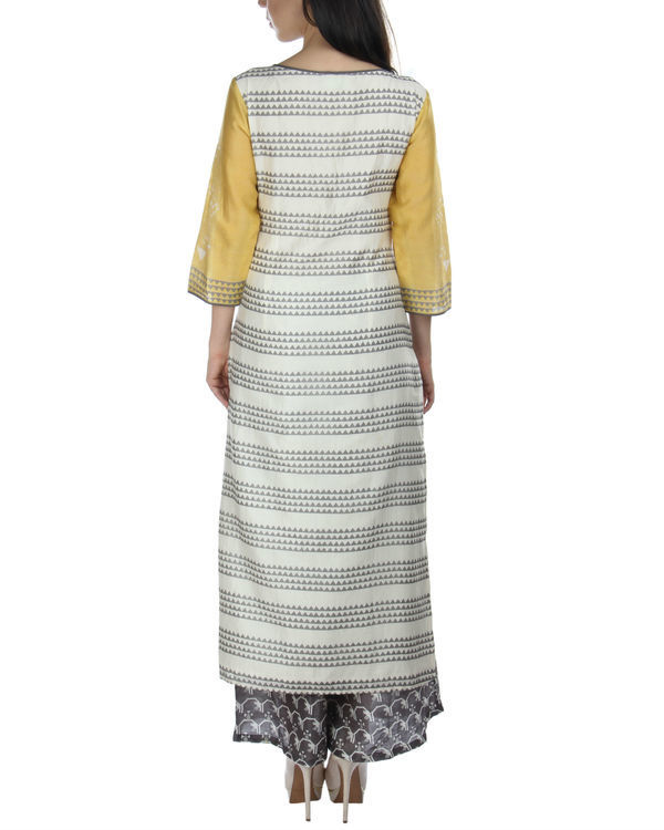 Yellow kurta set with palazzos and dupatta 1