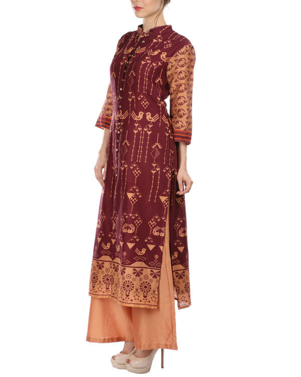 Maroon peach kurta and palazzo set 1
