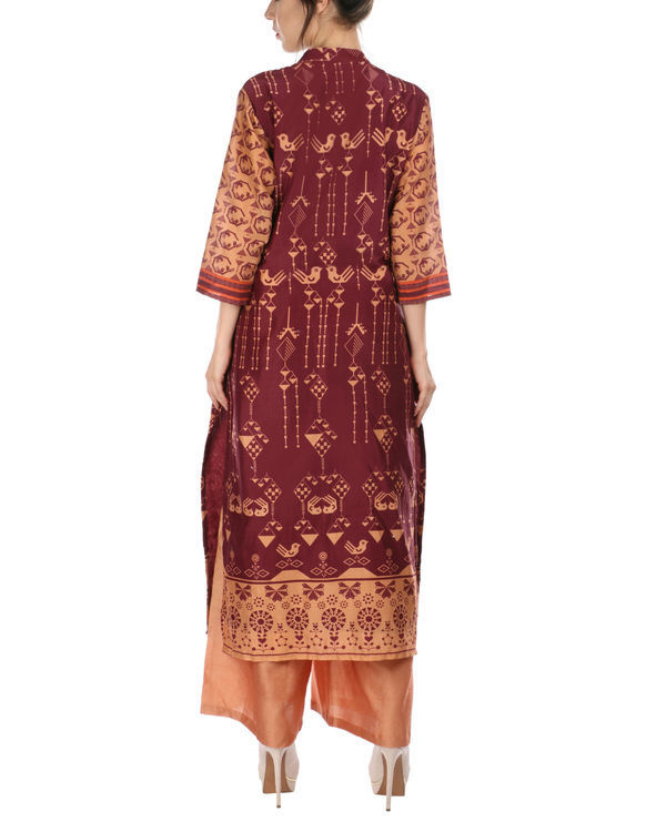 Maroon peach kurta and palazzo set 2