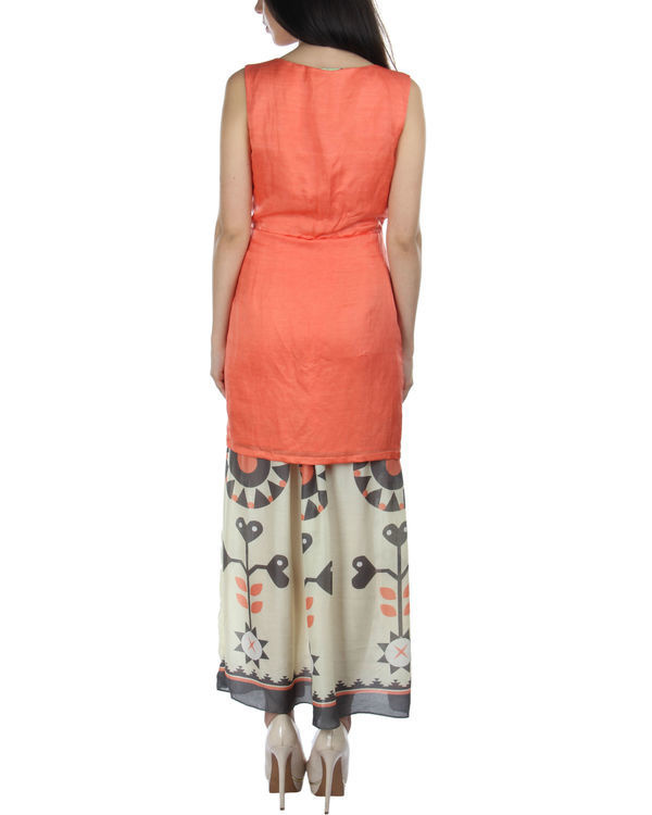 Peach kurta skirt set with dupatta 1