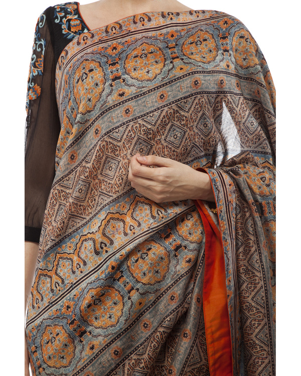 Embroidered blouse, half black georgette with half ajrakh prints  sari 1