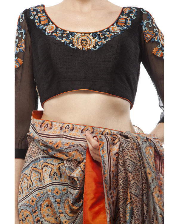 Embroidered blouse, half black georgette with half ajrakh prints  sari 2