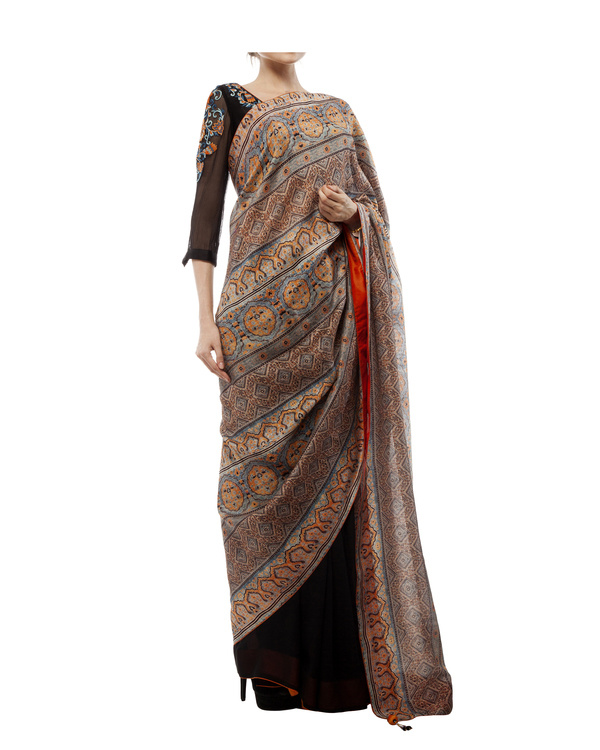 Embroidered blouse, half black georgette with half ajrakh prints  sari 4