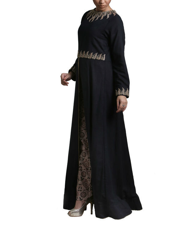 Black long flared kurta set 1