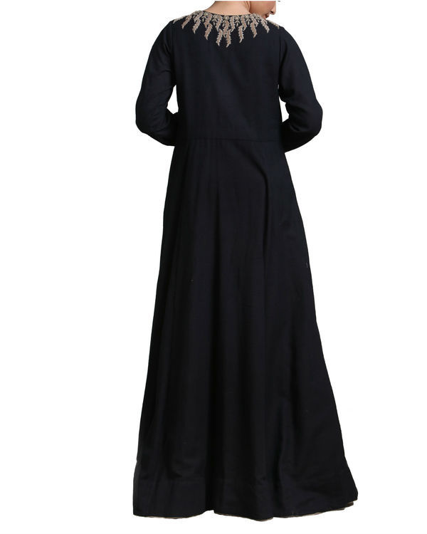 Black long flared kurta set 2