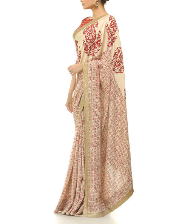 Red and beige printed sari 1