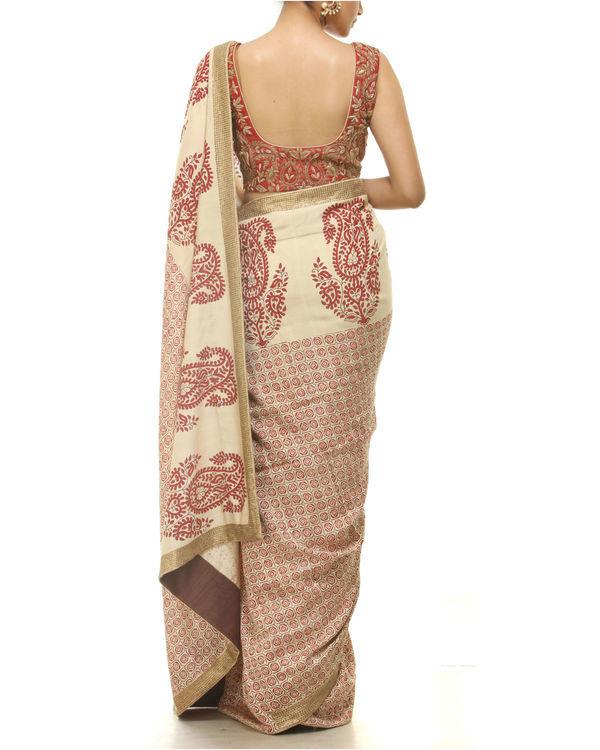 Red and beige printed sari 2