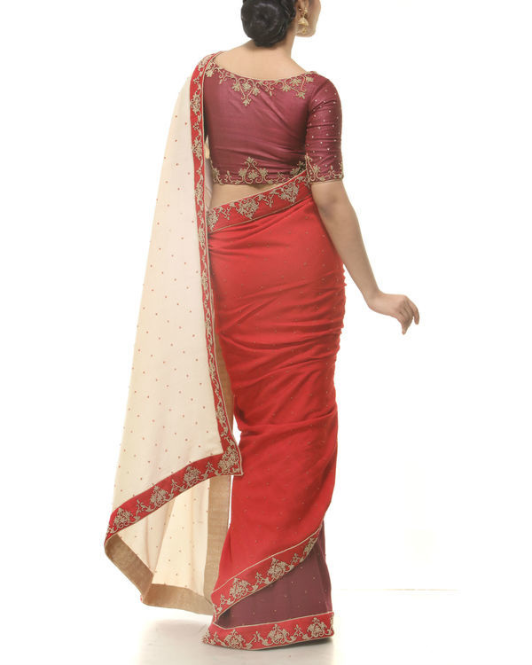 Maroon silk sari 2