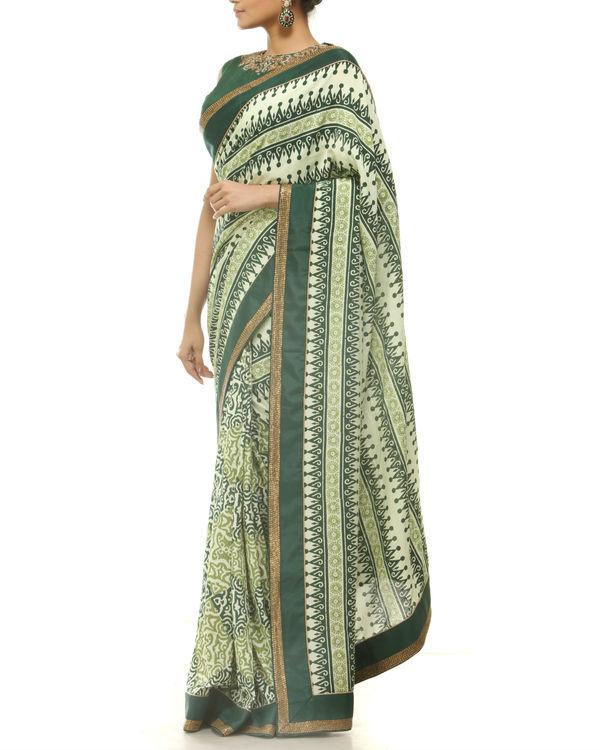 Green hand blocked printed sari 1