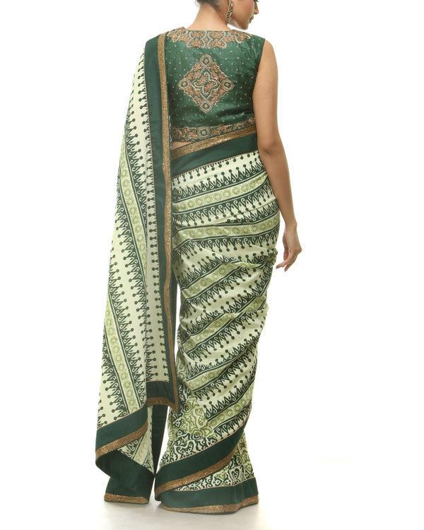 Green hand blocked printed sari 2