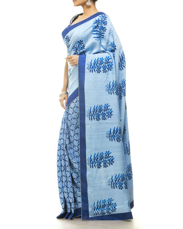 Blue hand block printed sari 1