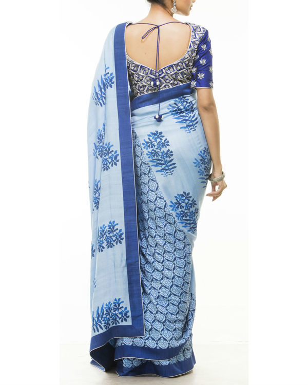 Blue hand block printed sari 2