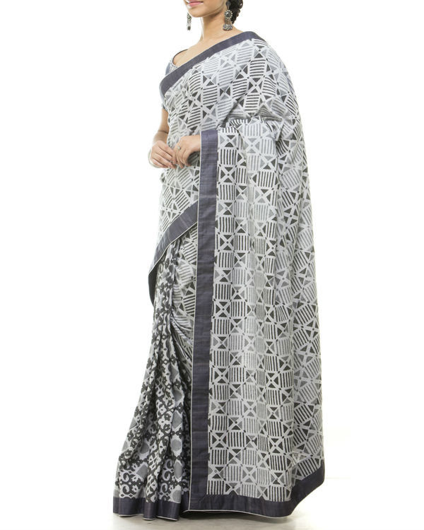 Grey half and half sari 1