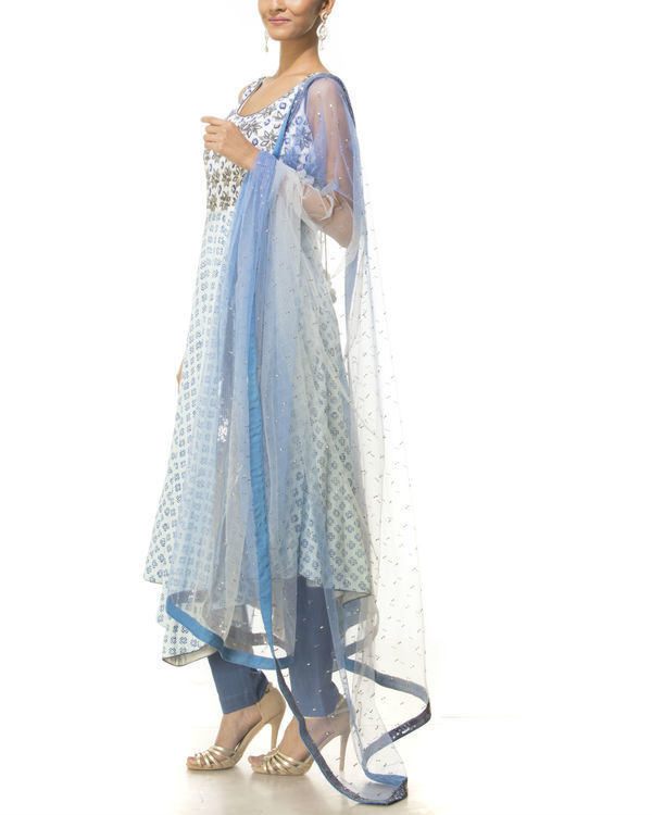 Blue asymmetrical kurta set 1