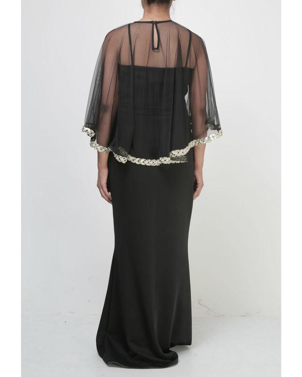 Black dress with embellished cape 1