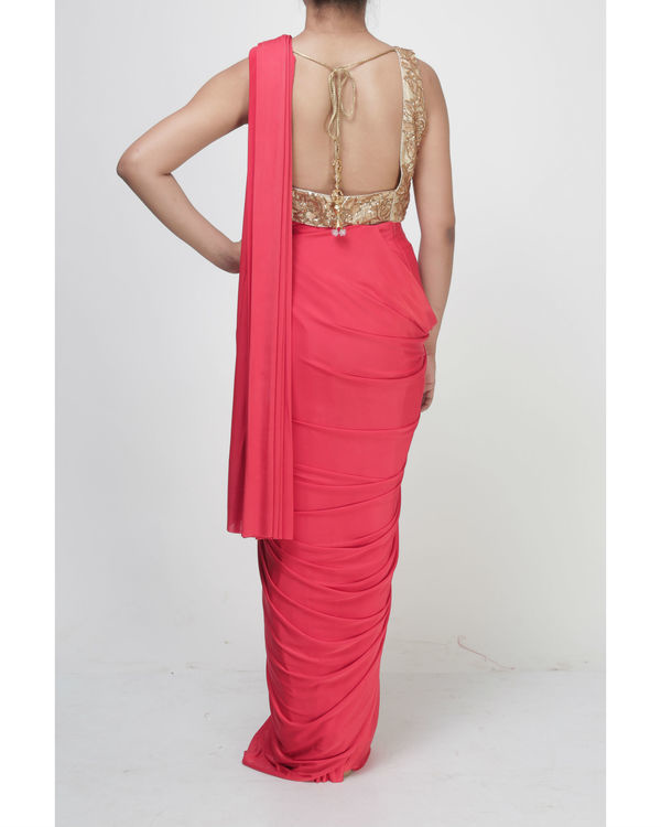 Coral draped saree 1