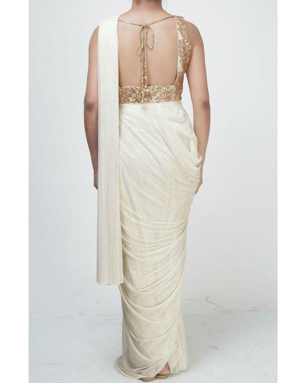 Ivory draped saree 1