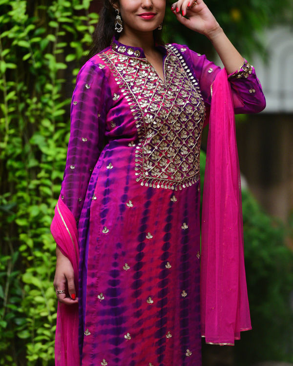 Purple pink gota patti set 1