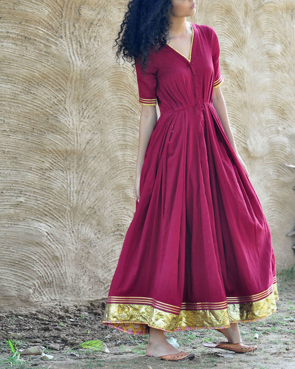 Plum pleated gown 4