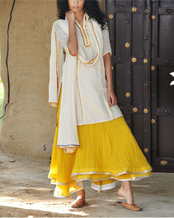 Mustard and ivory ghagra set 5