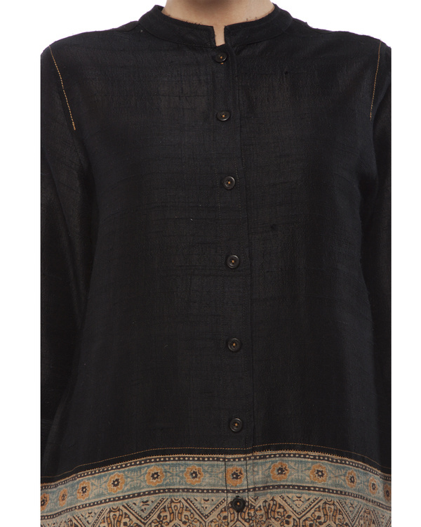 Black shirt with front half ajrakh printed tunic 1