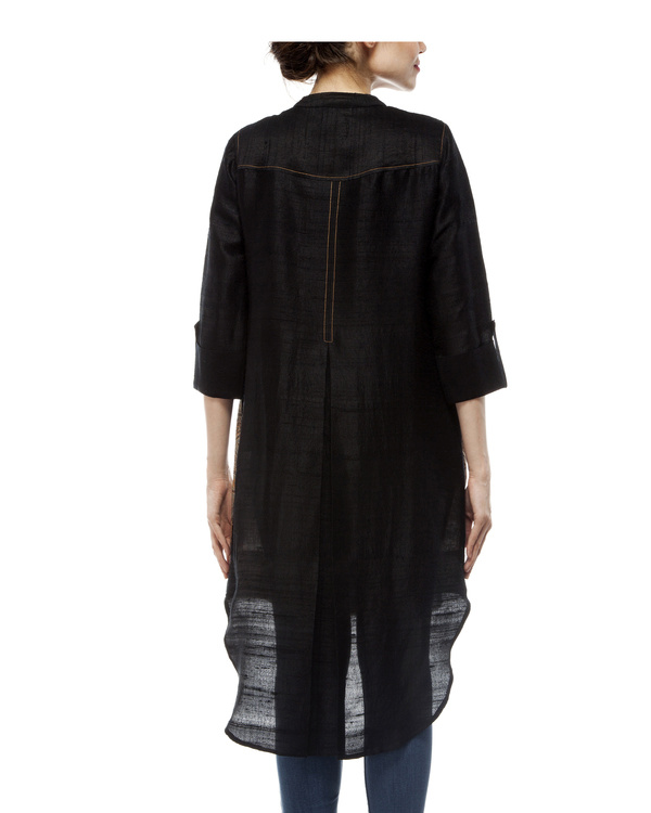 Black shirt with front half ajrakh printed tunic 2