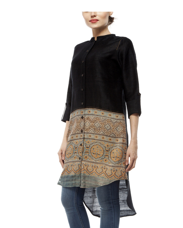 Black shirt with front half ajrakh printed tunic 3