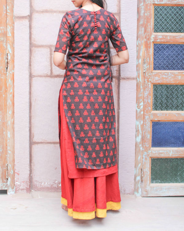 Black double layered kurta 1