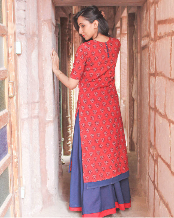 Red double layered kurta 1