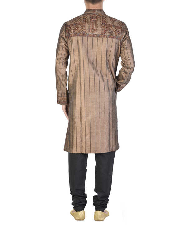 Raw silk maroon achkan 1
