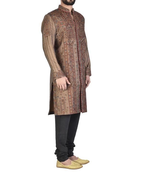 Raw silk maroon achkan 2