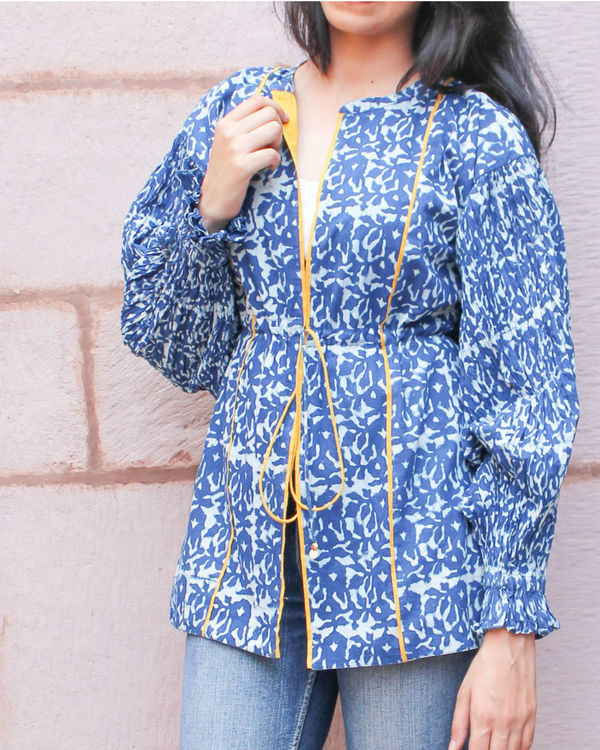 Indigo jacket with gathered sleeves 1