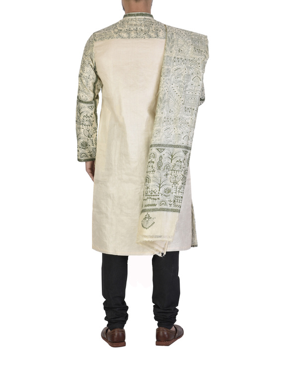 Tussar silk achakan and shawl 1